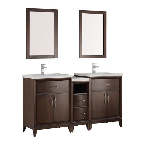 "Cambridge 60"" Double Sink Traditional Bathroom Vanity w/ Mirrors"
