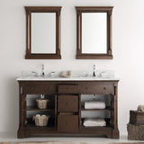 "Fresca Kingston 61"" Double Sink Traditional Bathroom Vanity w/ Mirrors"