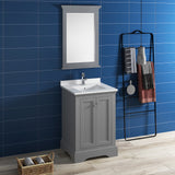 "Fresca Windsor 24"" Gray Textured Traditional Bathroom Vanity w/ Mirror 