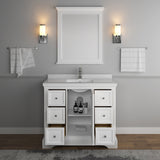 "Fresca Windsor 40"" Matte White Traditional Bathroom Vanity w/ Mirror 