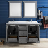 "Fresca Windsor 60"" Gray Textured Traditional Double Sink Bathroom Vanity w/ Mirrors 