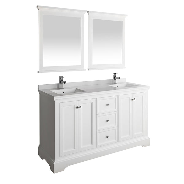 "Fresca Windsor 60"" Matte White Traditional Double Sink Bathroom Vanity w/ Mirrors 