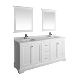 "Fresca Windsor 72"" Matte White Traditional Double Sink Bathroom Vanity w/ Mirrors 