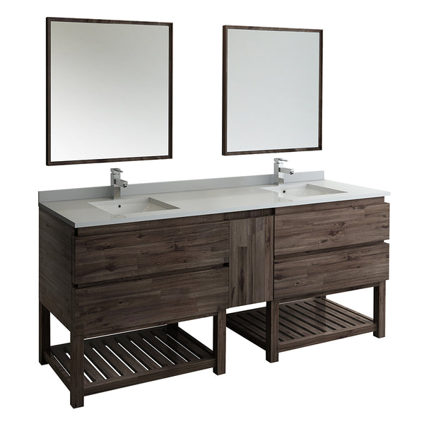 "Fresca Formosa 84"" Floor Standing Double Sink Modern Bathroom Vanity w/ Open Bottom & Mirrors 