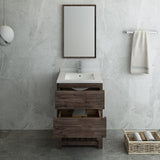 "Fresca Formosa 24"" Floor Standing Modern Bathroom Vanity w/ Open Bottom & Mirror 