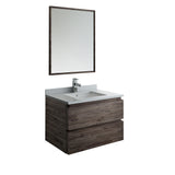 "Fresca Formosa 30"" Wall Hung Modern Bathroom Vanity w/ Mirror 