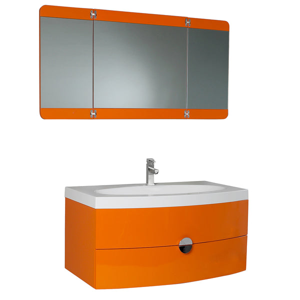 "Fresca Energia 36"" Modern Bathroom Vanity w/ Three Panel Folding Mirror"