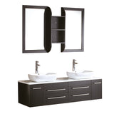 "Fresca Bellezza 59"" Modern Double Vessel Sink Bathroom Vanity"