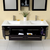 "Fresca Bellezza 59"" Espresso Modern Double Sink Bathroom Vanity"