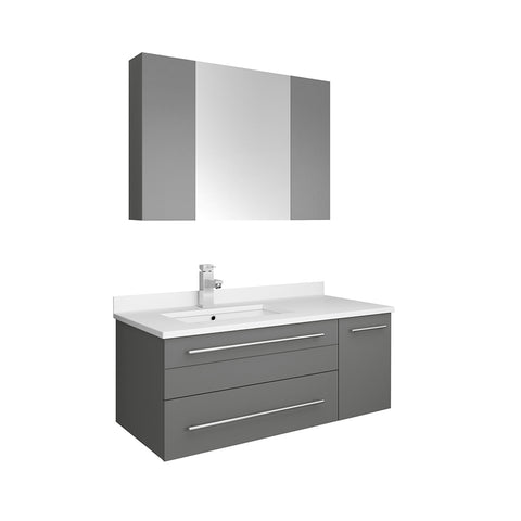 "Lucera 36"" Gray Modern Wall Hung Undermount Sink Vanity Set- Left Offset"