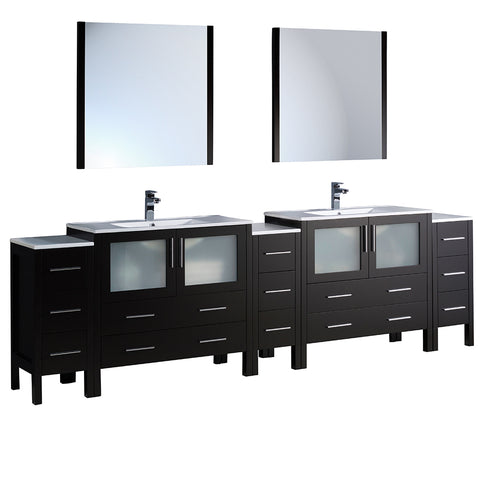 "Fresca Torino 108"" Modern Double Sink Bathroom Vanity w/ 3 Side Cabinets & Integrated Sinks"
