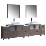 "Fresca Torino 108"" Modern Double Sink Bathroom Vanity w/ 3 Side Cabinets & Vessel Sinks"