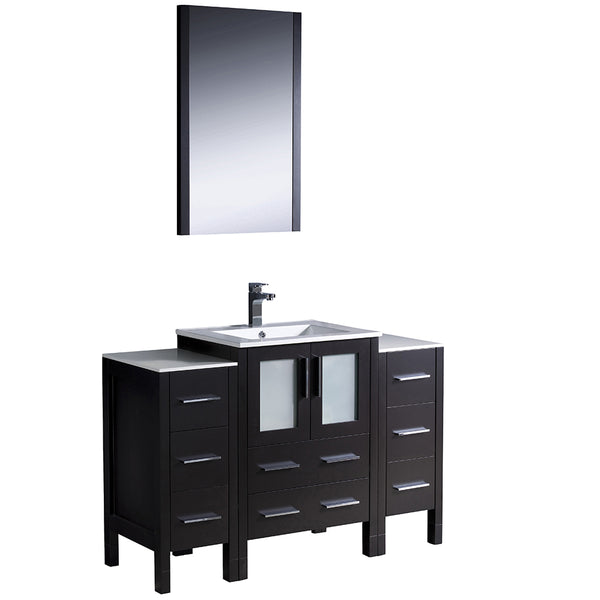 "Fresca Torino 48"" Modern Bathroom Vanity w/ 2 Side Cabinets & Integrated Sink"