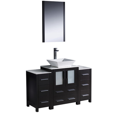 "Fresca Torino 48"" Modern Bathroom Vanity w/ 2 Side Cabinets & Vessel Sink"