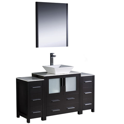 "Fresca Torino 54"" Modern Bathroom Vanity w/ 2 Side Cabinets & Vessel Sink"