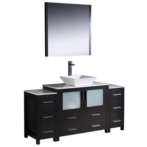 "Fresca Torino 60"" Modern Bathroom Vanity w/ 2 Side Cabinets & Vessel Sink"