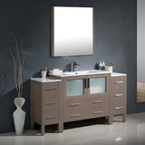 "Fresca Torino 60"" Modern Bathroom Vanity w/ 2 Side Cabinets & Integrated Sink"