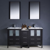 "Fresca Torino 60"" Modern Double Sink Bathroom Vanity w/ Side Cabinet & Integrated Sinks"