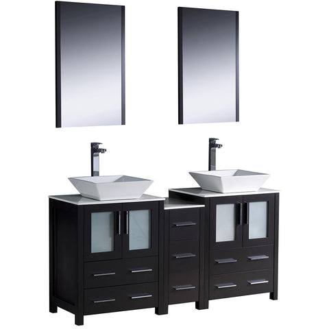 "Fresca Torino 60"" Modern Double Sink Bathroom Vanity w/ Side Cabinet & Vessel Sinks"