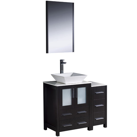 "Fresca Torino 36"" Modern Bathroom Vanity w/ Side Cabinet & Vessel Sink"