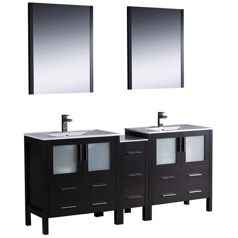 "Fresca Torino 72"" Modern Double Sink Bathroom Vanity w/ Side Cabinet & Integrated Sinks"