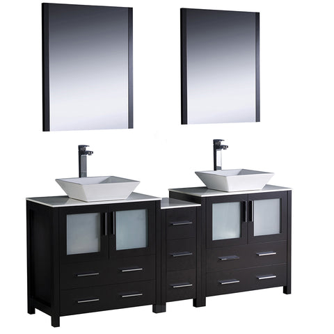"Fresca Torino 72"" Modern Double Sink Bathroom Vanity w/ Side Cabinet & Vessel Sinks"