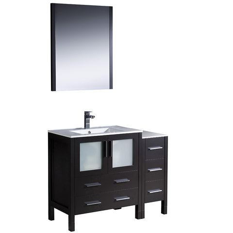 "Fresca Torino 42"" Modern Bathroom Vanity w/ Side Cabinet & Integrated Sink"