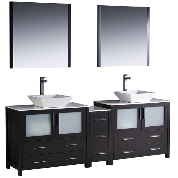 "Fresca Torino 84"" Modern Double Sink Bathroom Vanity w/ Side Cabinet & Vessel Sinks"