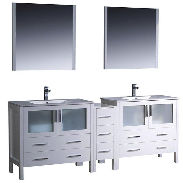 "Fresca Torino 84"" White Modern Double Sink Bathroom Vanity w/ Side Cabinet & Integrated Sinks"