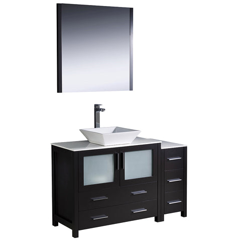 "Fresca Torino 48"" Modern Bathroom Vanity w/ Side Cabinet & Vessel Sink"