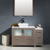 "Fresca Torino 42"" Modern Bathroom Vanity w/ Side Cabinet & Vessel Sink"