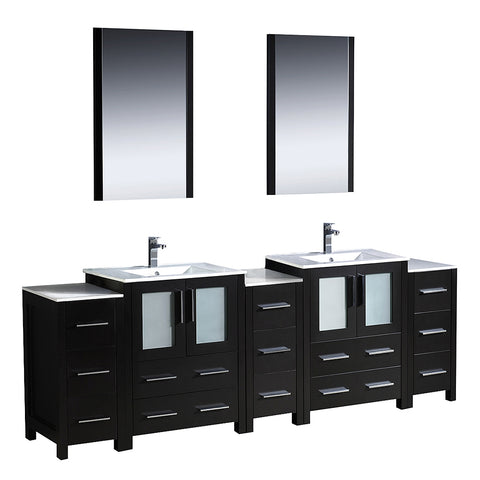 "Fresca Torino 84"" Modern Double Sink Bathroom Vanity w/ 3 Side Cabinets & Integrated Sinks"