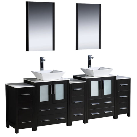 "Fresca Torino 84"" Modern Double Sink Bathroom Vanity w/ 3 Side Cabinets & Vessel Sinks"