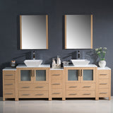 "Fresca Torino 96"" Modern Double Sink Bathroom Vanity w/ 3 Side Cabinets & Vessel Sinks"
