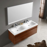 "Fresca Largo 57"" Modern Bathroom Vanity w/ Wavy Double Sinks"