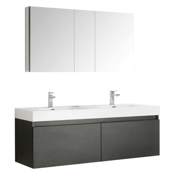 "Fresca Mezzo 60"" Wall Hung Double Sink Vanity"