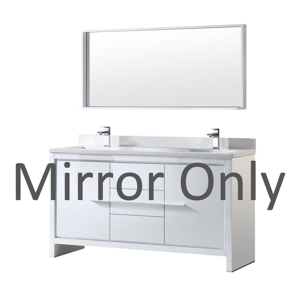 "Fresca Allier 60"" White Modern Double Sink Bathroom Vanity Mirror only"