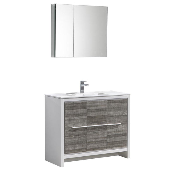 "Fresca Allier Rio 40"" Ash Gray Modern Bathroom Vanity"
