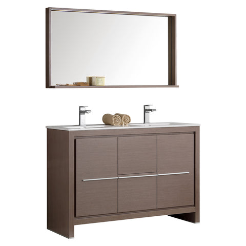 "Fresca Allier 48"" Modern Double Sink Bathroom Vanity w/ Mirror"