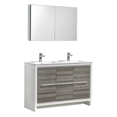 "Fresca Allier Rio 48"" Ash Gray Double Sink Modern Bathroom Vanity w/ Medicine Cabinet"