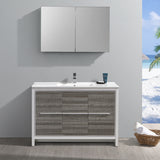 "Fresca Allier Rio 48"" Ash Gray Single Sink Modern Bathroom Vanity w/ Medicine Cabinet"