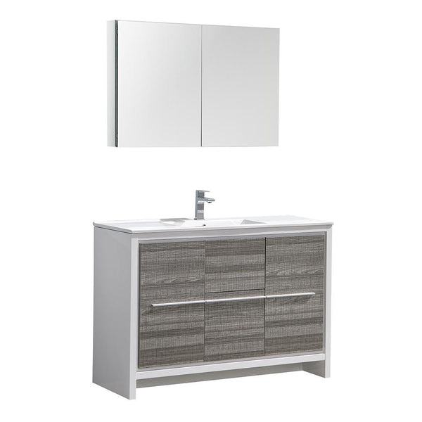"Fresca Allier Rio 48"" Ash Gray Modern Bathroom Vanity"