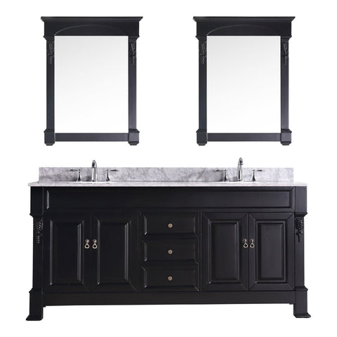 "Virtu USA Huntshire 72"" Double Bathroom Vanity with Marble Top"