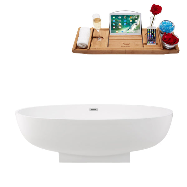 "67"" Streamline Soaking Freestanding Tub with Internal Drain"