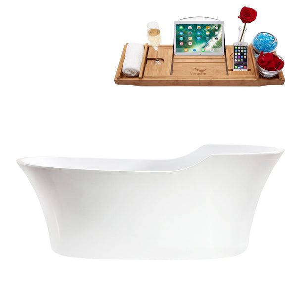"68"" Streamline Soaking Freestanding Tub With Internal Drain"