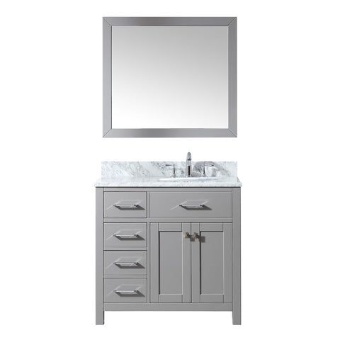 "Virtu USA Caroline Parkway 36"" Single Bathroom Vanity with Marble Top - Left Offset"