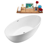 "Streamline 70"" Soaking Freestanding Tub With Internal Drain 