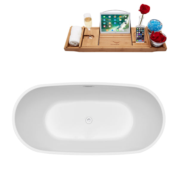 "Streamline 67"" Soaking Freestanding Tub and Tray With Internal Drain 