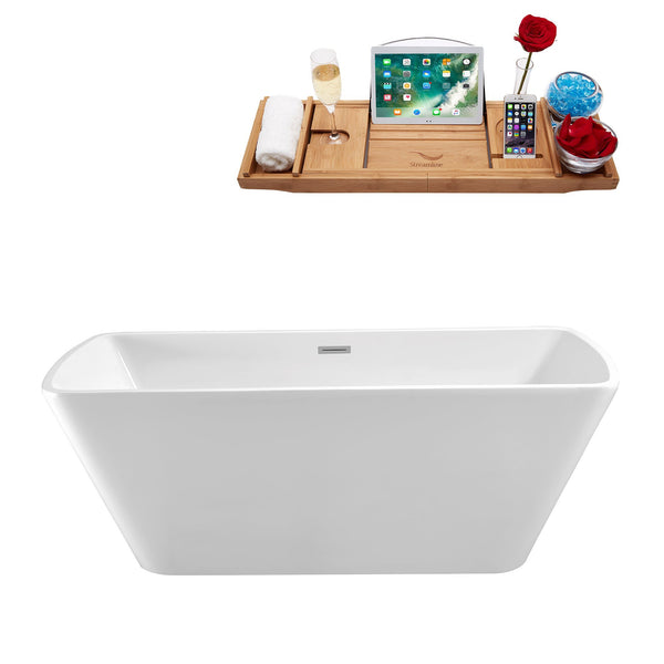 "Streamline Soaking Freestanding 59"" Tub in White w/ Internal Drain Set 