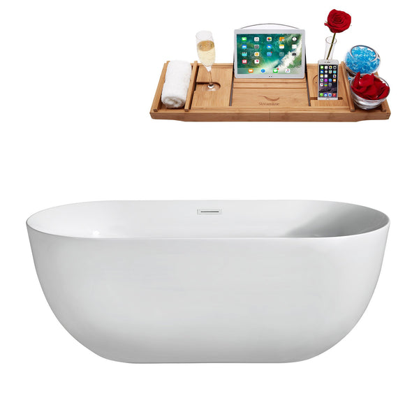 "Streamline Soaking Freestanding 67"" Tub in White w/ Internal Drain Set 